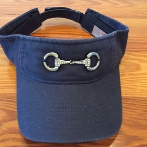 Ladies navy blue embellished visor